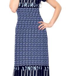 Buy Blue printed crepe stitched kurti long-kurti online