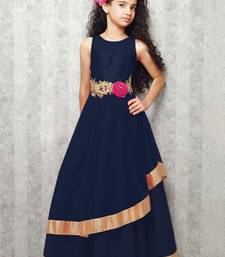 Buy blue satin designer embroidered partywear kids gown kids wear black-friday-deal-sale online