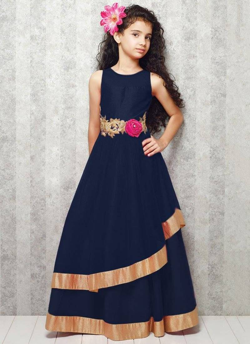 buy blue satin designer embroidered partywear kids gown