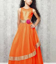 Buy orange satin designer embroidered partywear kids gown kids wear kids-salwar-suit online
