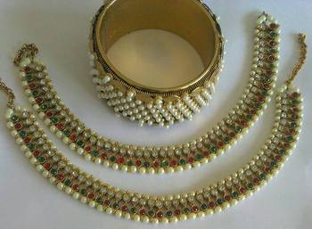 Designer Anklets with Traditional Moti Kadas