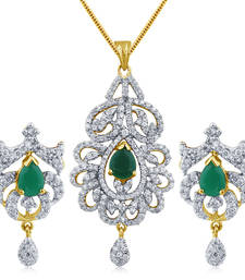 Buy Green Stone in High Gold Plated Look with Drops Pendant online