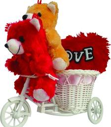 Buy Cute pink cycle with sitting couple teddy with love heart valentine gift set gifts-for-girlfriend online