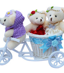 Buy Cute bubbly teddybear basket cycle valentine gift set gifts-for-girlfriend online