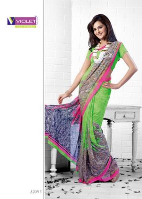 Monika Bedi in Printed saree