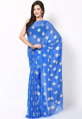 Teal Blue Chiffon Printed Saree