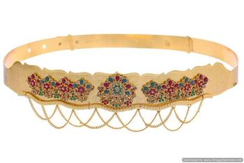 ANTIQUE GOLDEN STONE STUDDED ROYAL TRADITIONAL WAIST BELT/VADIYALAM (AD RED GREEN)  - PCWB5005