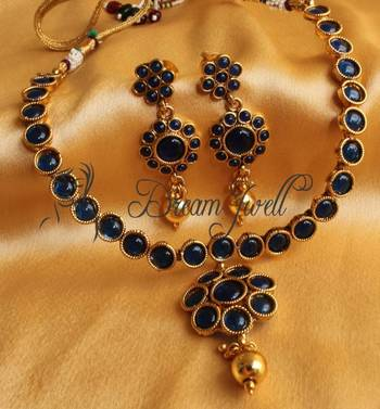 BEAUTIFUL ANTIQUE BLUE NECKLACE SET DJ-01953