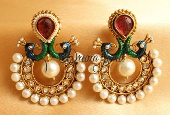 AWESOME ANTIQUE RED PEACOCK EARRINGS -DJ12667