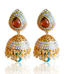 Buy Ethnic Pearl Jhumka Earrings with Wine Stones by ADIVA ABSAT0CB0101 DDS 20 jhumka online