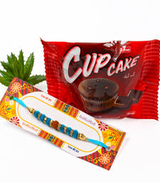 Buy Cup Cake with Rudraksha and Velvet Sphere Rakhi rakhi-gift-hamper online