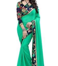 Buy Green printed chiffon saree With Blouse chiffon-saree online