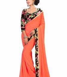 Buy Orange printed chiffon saree With Blouse chiffon-saree online