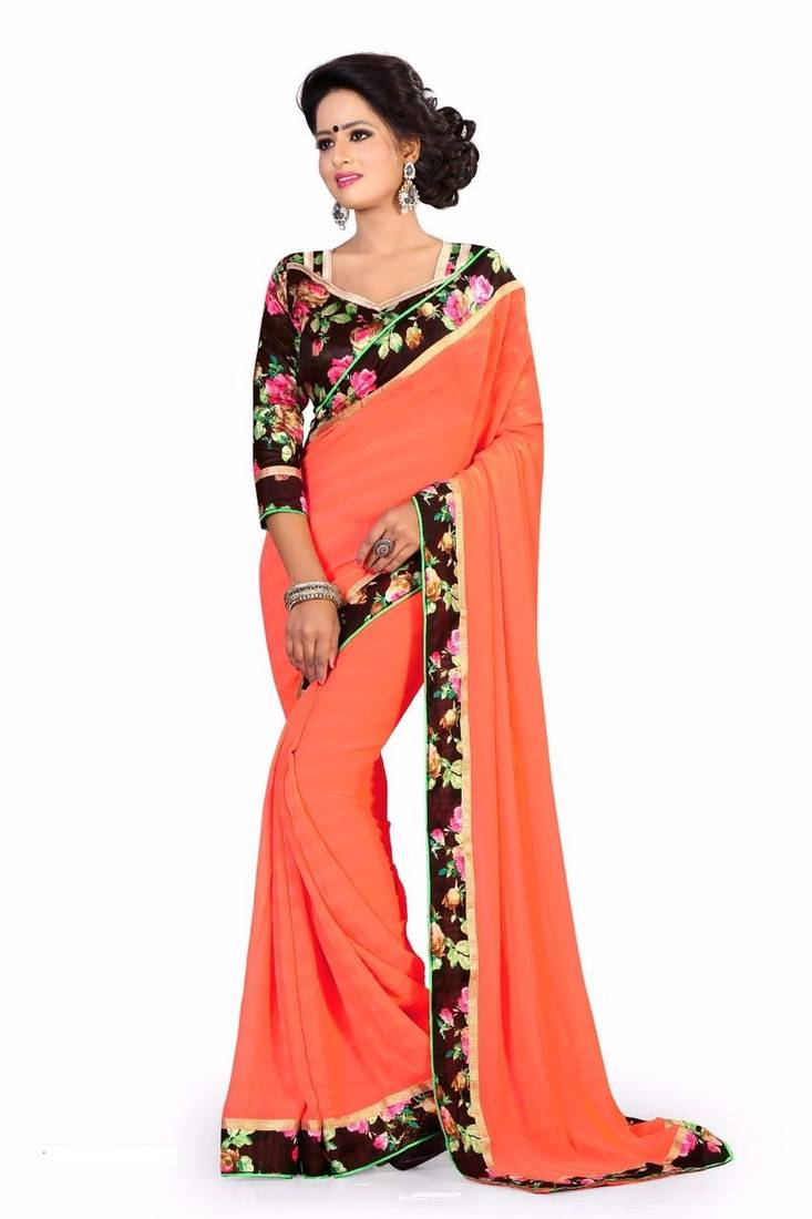 Buy Orange Printed Chiffon Saree With Blouse Online