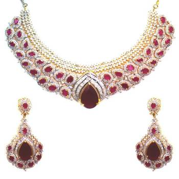 Choker Style American Diamond Necklace Set
