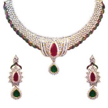 Choker Style American Diamond Necklace Set