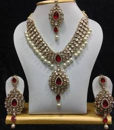 Buy Dazzling kundan set in White and Red Stones and Pearls black-friday-deal-sale online