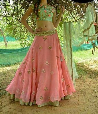 pink georgette embroidered unstitched lehenga choli