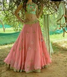 Buy pink georgette embroidered unstitched lehenga choli lehenga-choli online