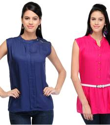 Buy Blue and pink rayon tops long-top online