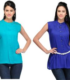Buy Green and blue rayon tops long-top online