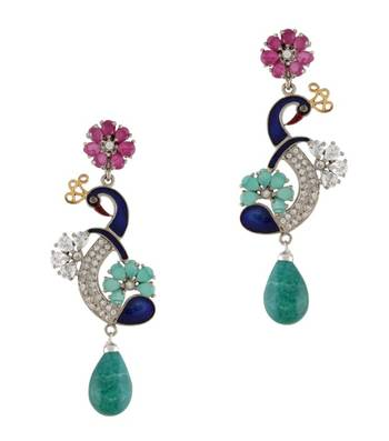 Peacock Love Blossoms Earrings