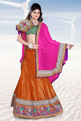 Oranga and Green Art silk Embroidered Lehenga Choli