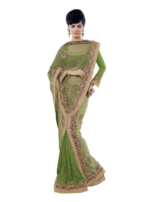 Green Colored Net Embroidered Saree
