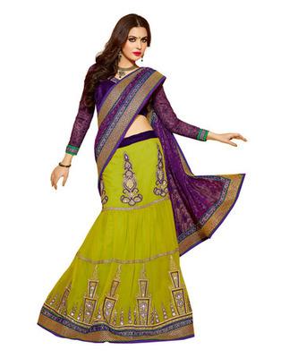 Purple Colored Net Embroidered Saree