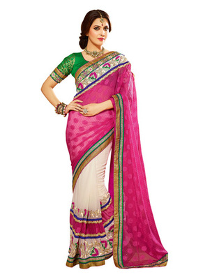 Pink Colored Georgette Embroidered Saree