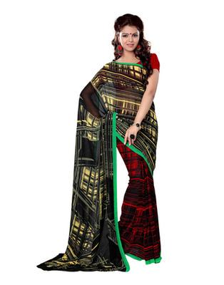 Black Colored Bemberg Georgette Printed Saree