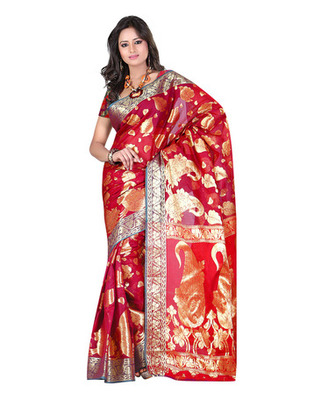 Pink Colored Banarasi Cotton Weaving Embroidered Saree