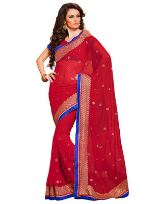 Pink Colored Chiffon Saree