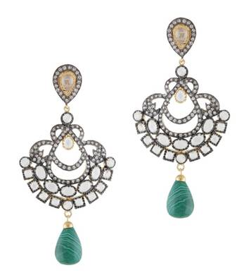Green & Black Majestic Earrings