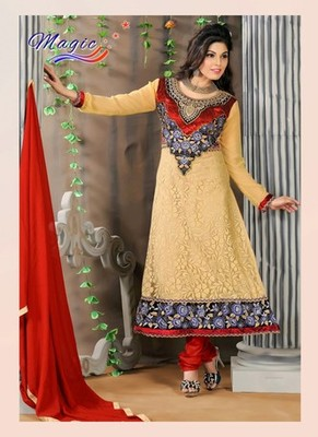 Cream & Red Color Net Brasso with Embroidery Dress Material