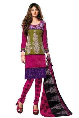 Pink and Green Cotton Salwar Kameez Showing Printed Work