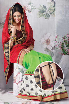 Charming Green and Maroon Art Silk Saree with Patch-patti work