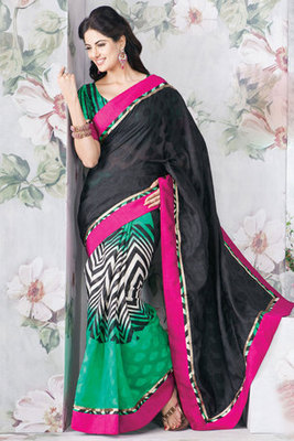 Attractive Black Art Silk Saree Designed With Patch-patti work