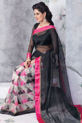 Magical Art Silk saree in Off White and Black colour shade