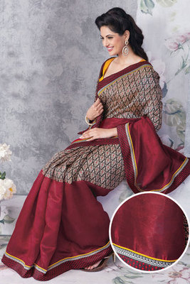 Attractive Chikoo and Maroon Colour Art Silk Saree
