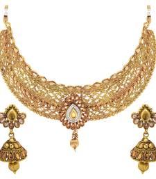 Buy Traditional Ethnic Gold Plated Stylish Choker Kundan Necklace Set necklace-set online