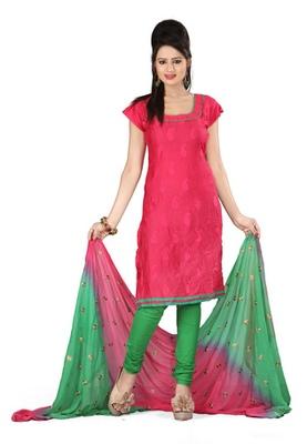 Fabdeal Pink Colored Satin Cotton Un-Stitched Salwar Kameez