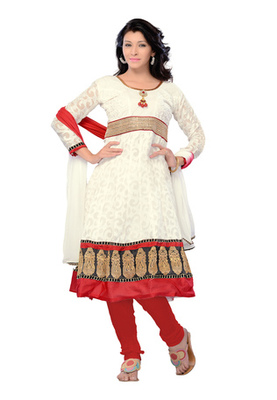 Fabdeal White Colored Cotton Brasso Semi-Stitched Salwar Kameez