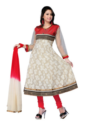 Fabdeal Cream  Colored Chanderi Silk Semi-Stitched Salwar Kameez