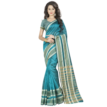 Blue plain chanderi silk saree With Blouse