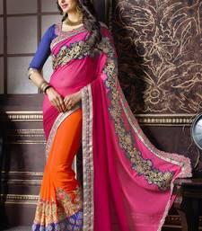 Buy georgette saree by fabkaz (Pink) designer-embroidered-saree online