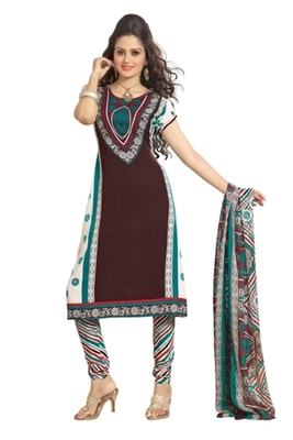 Triveni Pleasing Synthetic Cotton Brown Colored Indian Ethnic Salwar Kameez