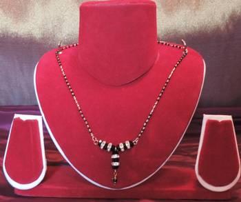 Black Beads Diamante Pendant Mangalsutra