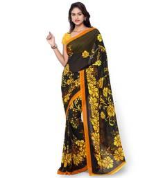 Buy black printed georgette saree With Blouse bhagalpuri-silk-saree online