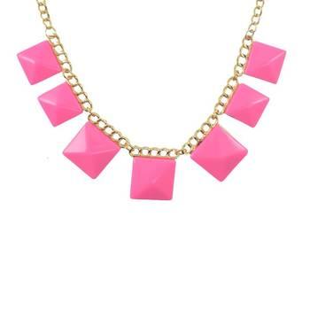 DIOVANNI Pink Revolution Square Diva Geometric Statement Necklace
